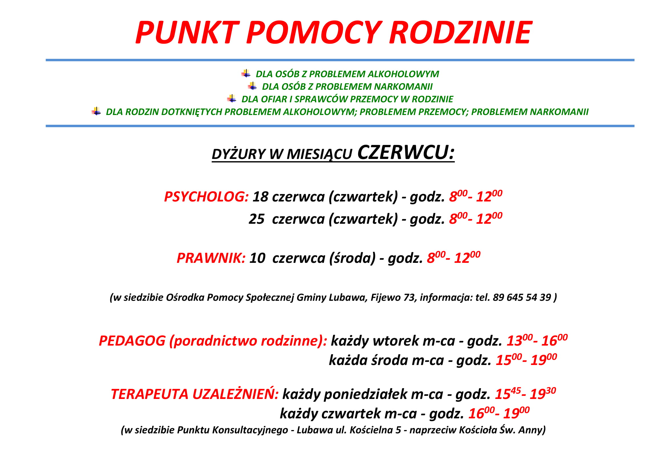 Ilustracja do informacji: Punkt Pomocy Rodzinie - Czerwiec